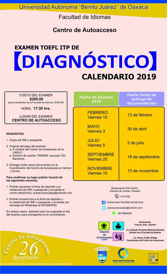 auatocceso diagnostico calendario 2019