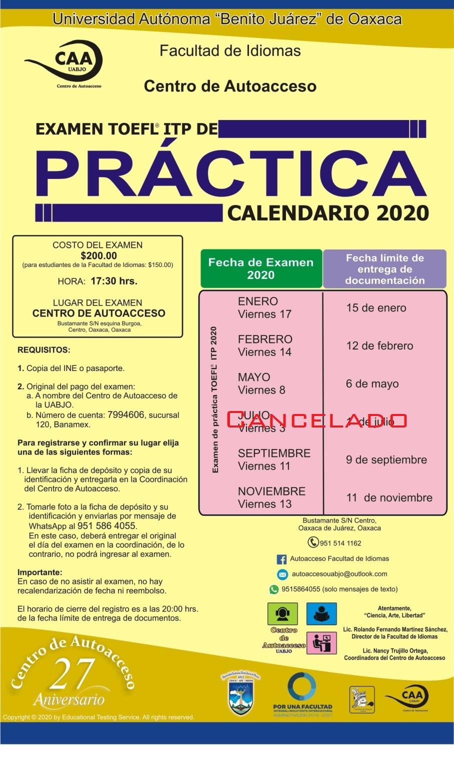 toefl práctica cancelado julio 2020