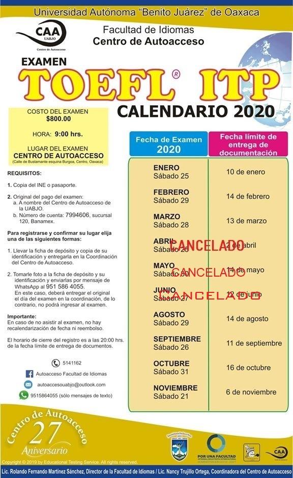 Toefl oficial Junio Cancelado