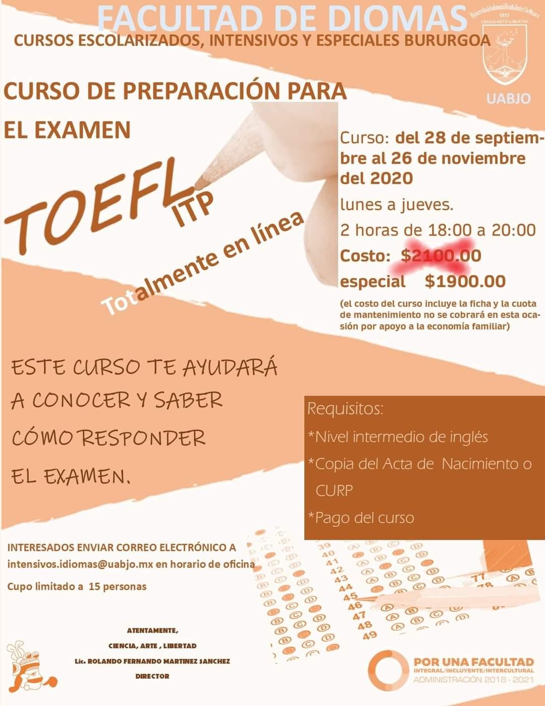 Curso de Preparación al examen TOEFL ITP Burgoa