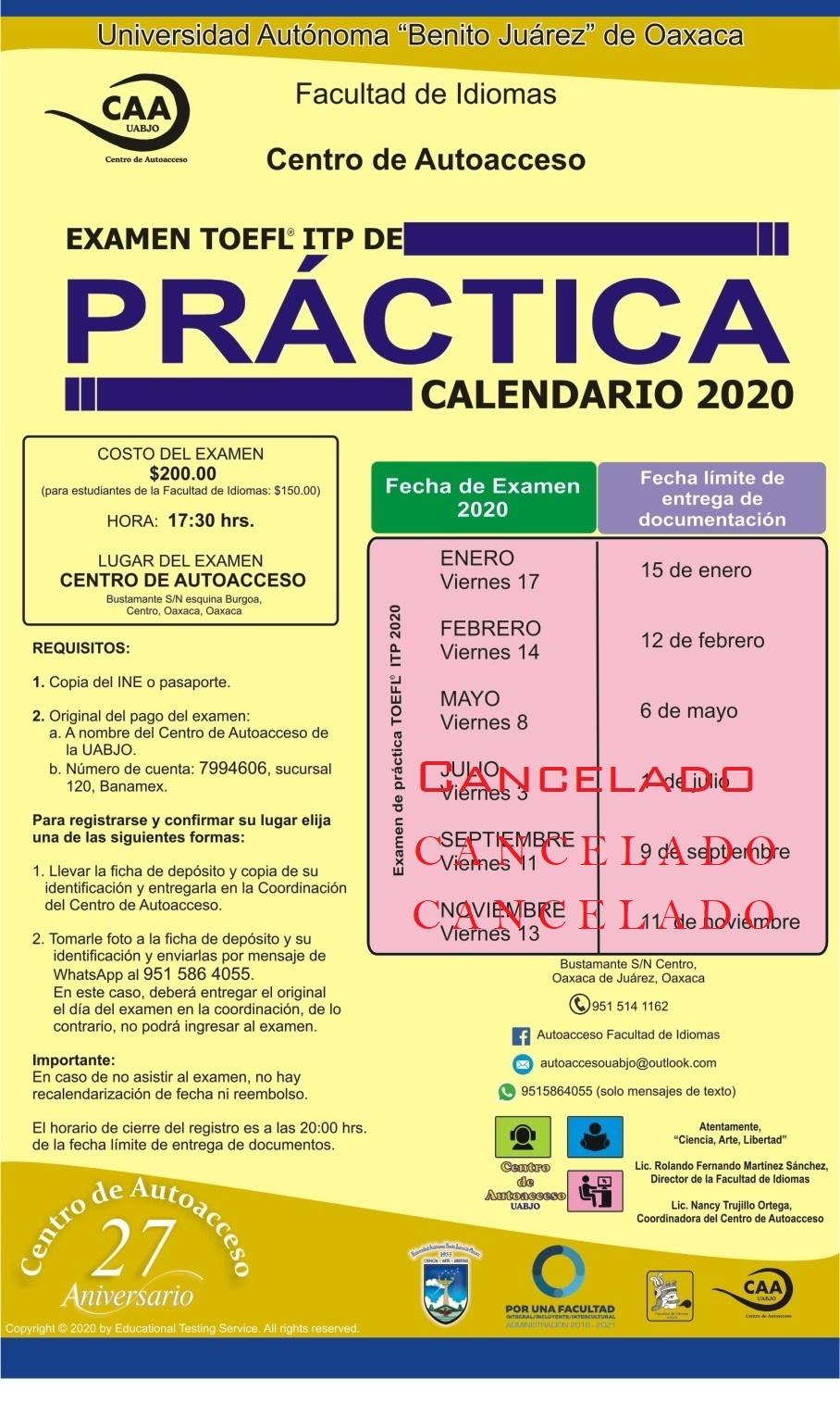 Calendario Toefl Practica y Diagnóstico